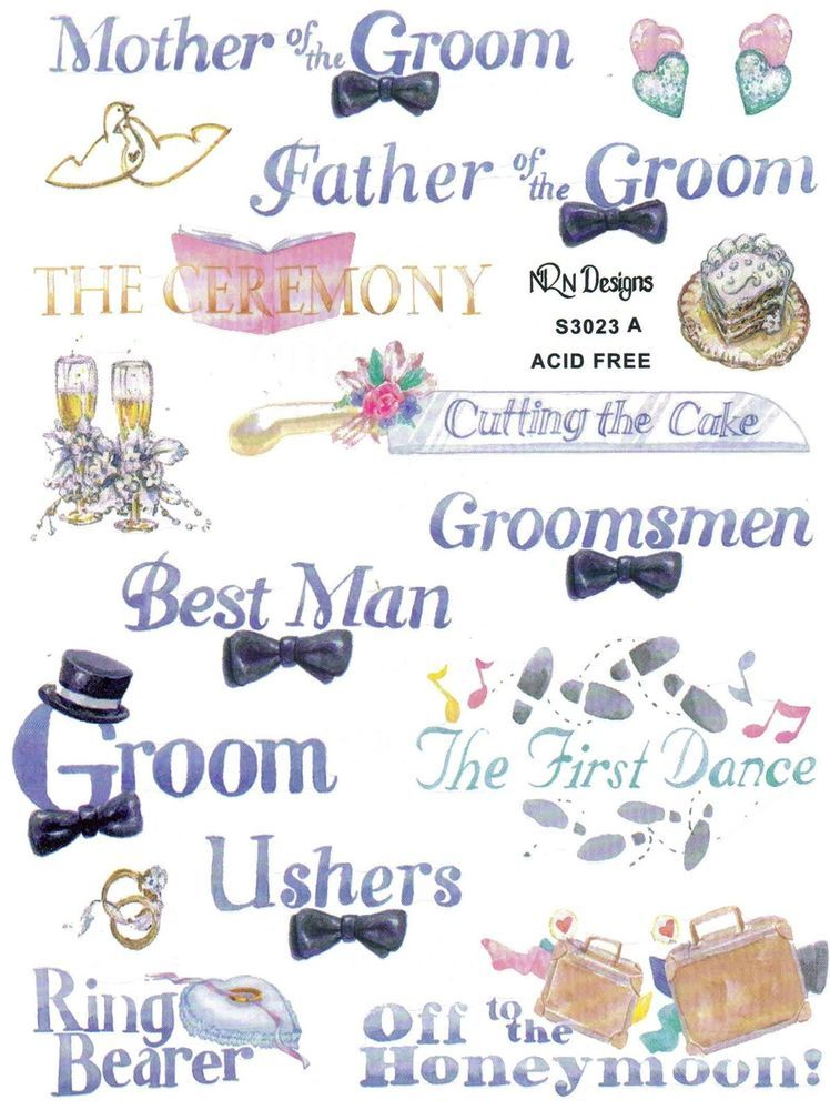 Wedding Party Scrapbook Stickers And Phrases Wedding Scrapbook