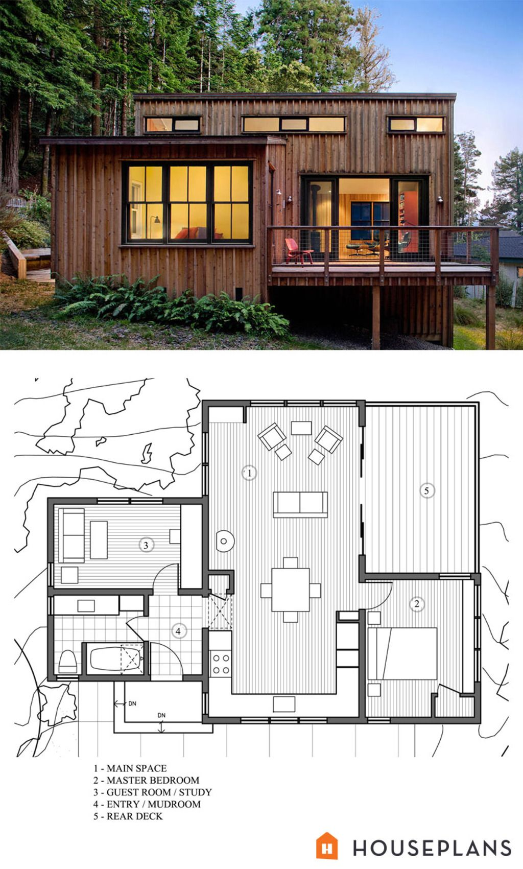 Modern Style House Plan 2 Beds