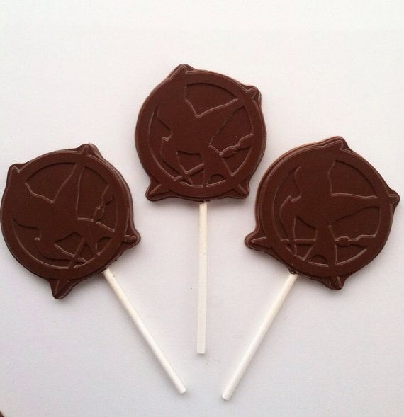 100 Hunger Games Mockingjay chocolate Pops by BearHeartsCrafts    Let The Hunger Games begin!!!!