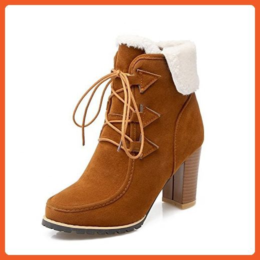 Women's Solid Imitated Suede High-Heels Lace-Up Round Closed Toe Boots