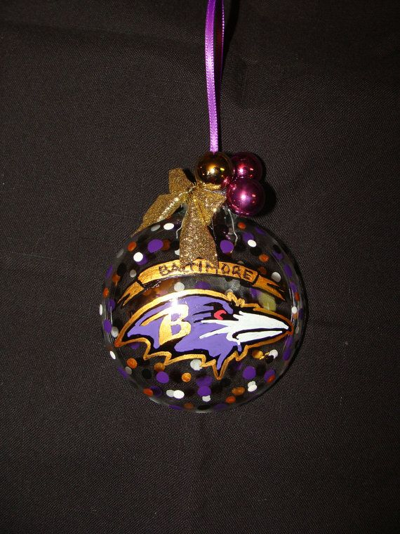 Baltimore Ravens Ornament by GlassWorksByPaula on Etsy, $10.00 ...