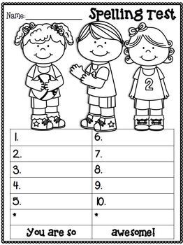spelling test freebie march edition o home school pre k ideas spelling test spelling. Black Bedroom Furniture Sets. Home Design Ideas