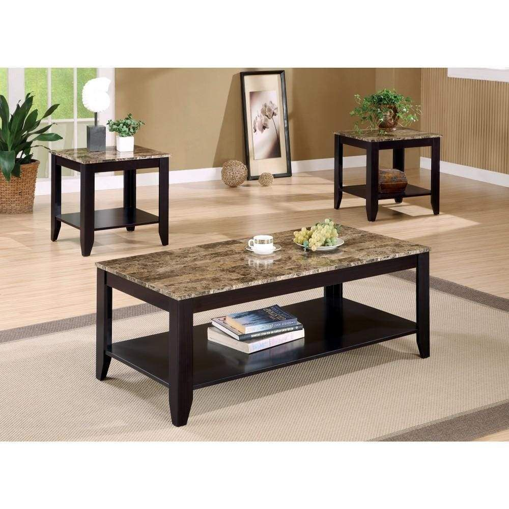 Artistic 3 Piece Occasional Table Set With Marble Top Brown Living Room Table Sets Coffee Table End Table Set Coffee Table [ 1000 x 1000 Pixel ]