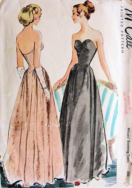 1940s Hollywood Evening Gowns: McCall's 6733 Sewing Pattern 1940s Debutante Ball Gown