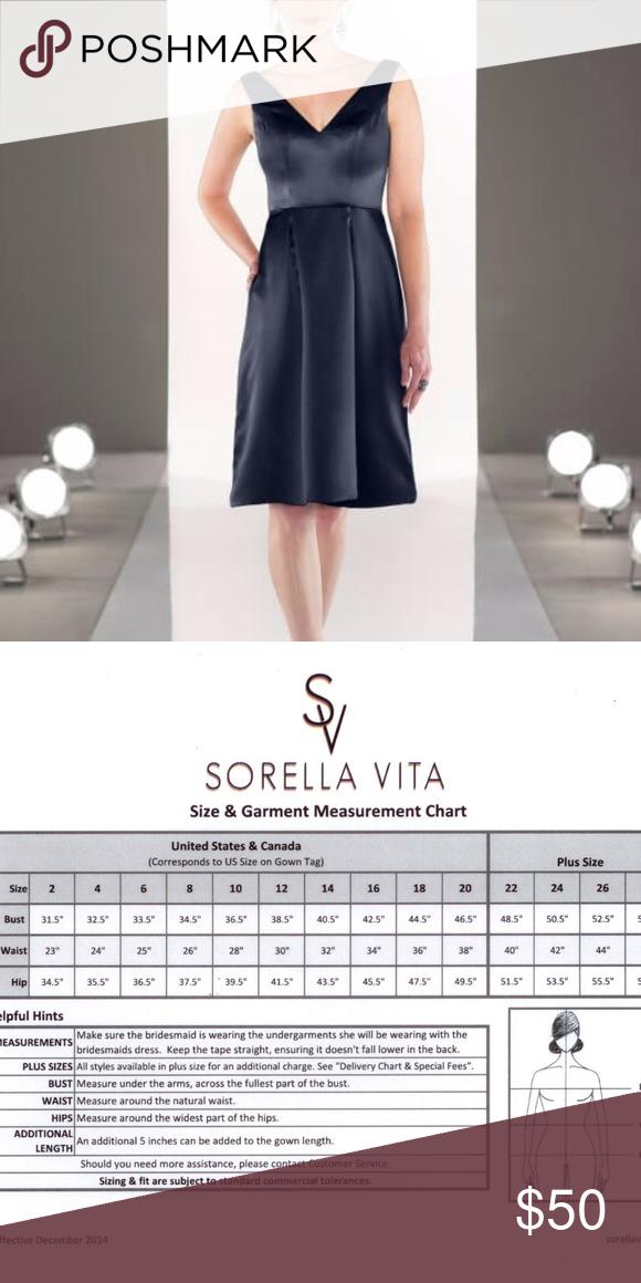 Satin Sorella Vita Bridesmaid Dress Size 12 Tea Length V Neck Runs Small See Chart For Measurements Brand