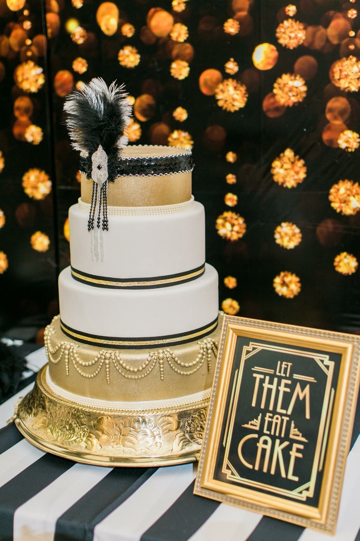 great gatsby party white and gold cake in a gold stand with black accents let them eat cake. Black Bedroom Furniture Sets. Home Design Ideas