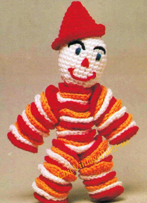 Crochet Clown Doll ... Nursery Toy ... PDF Crochet Toy Pattern ...