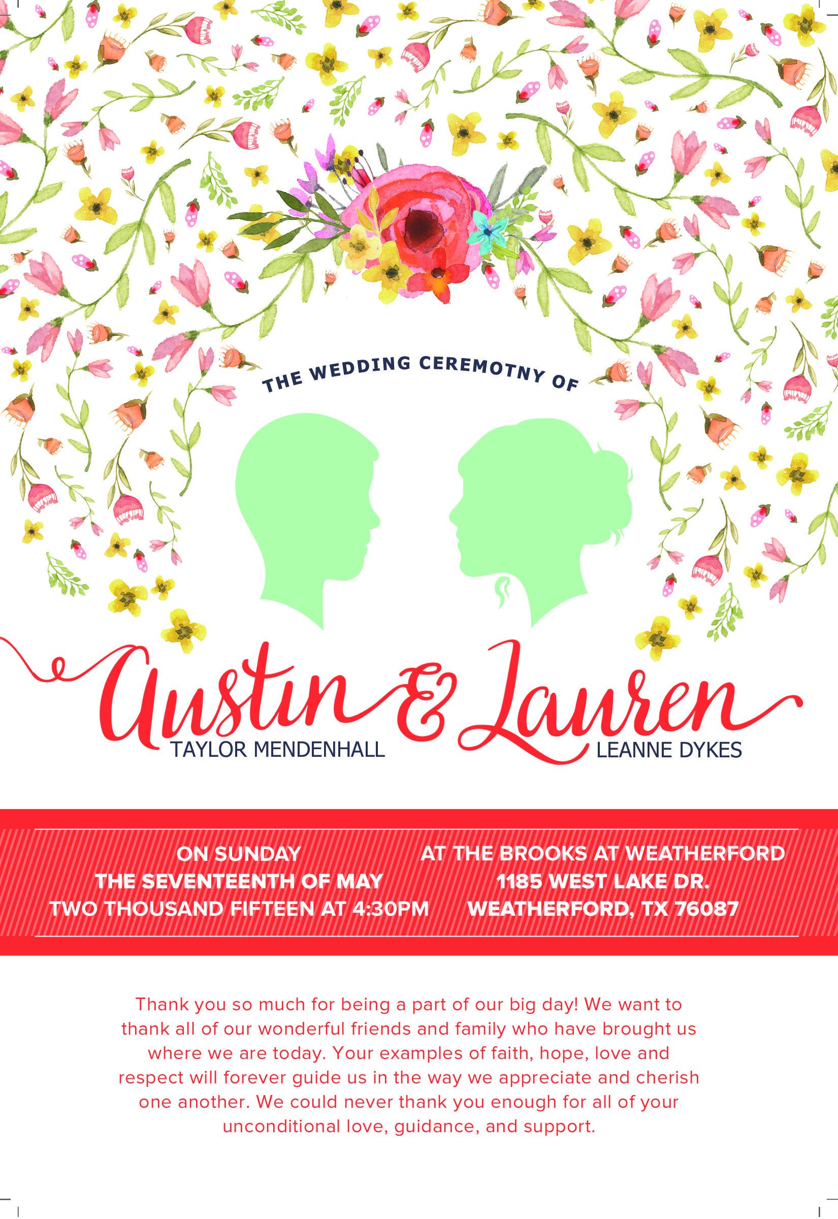 Wedding Program Design - Jane Austin style  #graphicdesign #design #wedding #invitation #program #janeaustin
