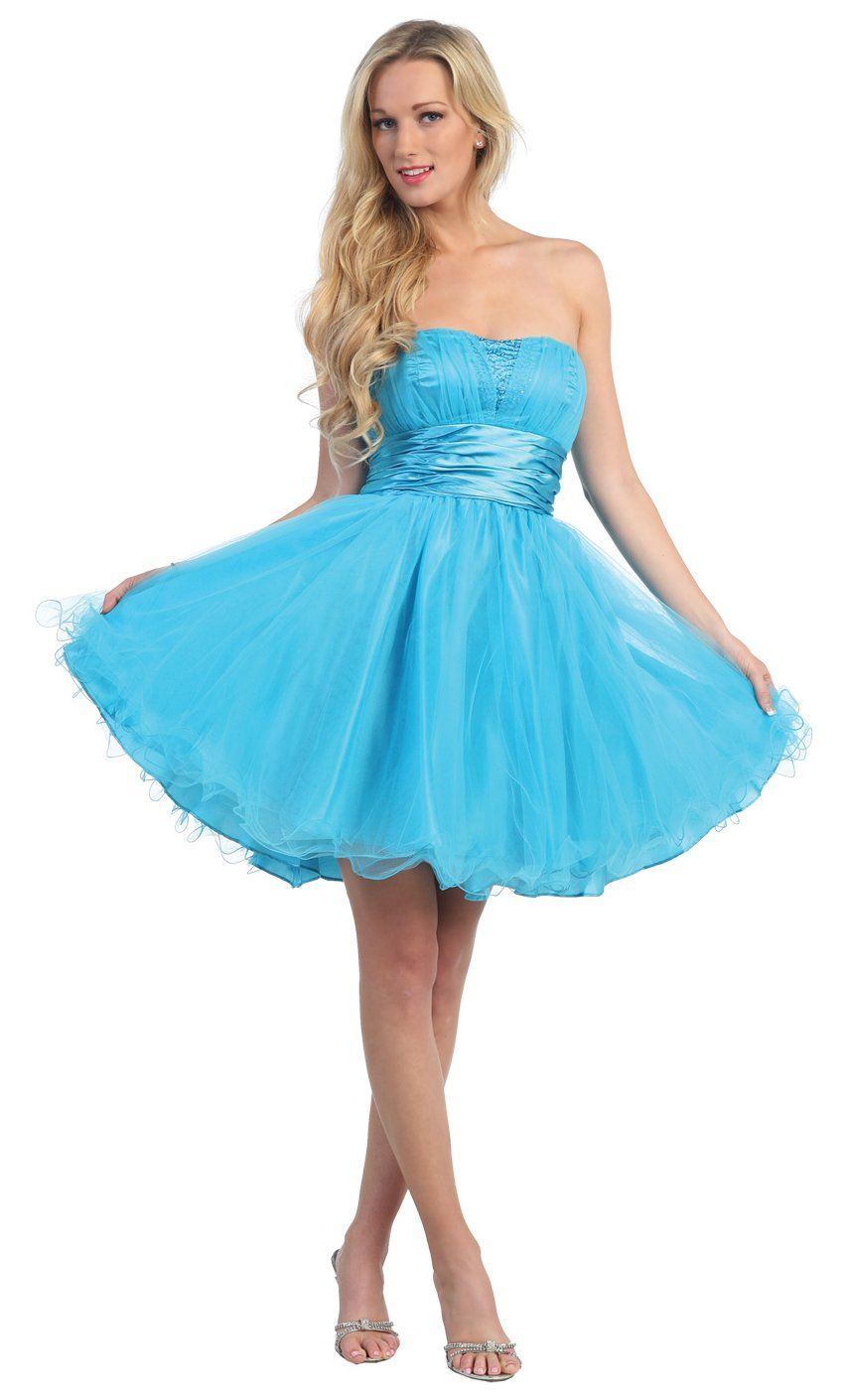 Short Strapless Turquoise Homecoming Gown Tulle Skirt Satin Waist ...