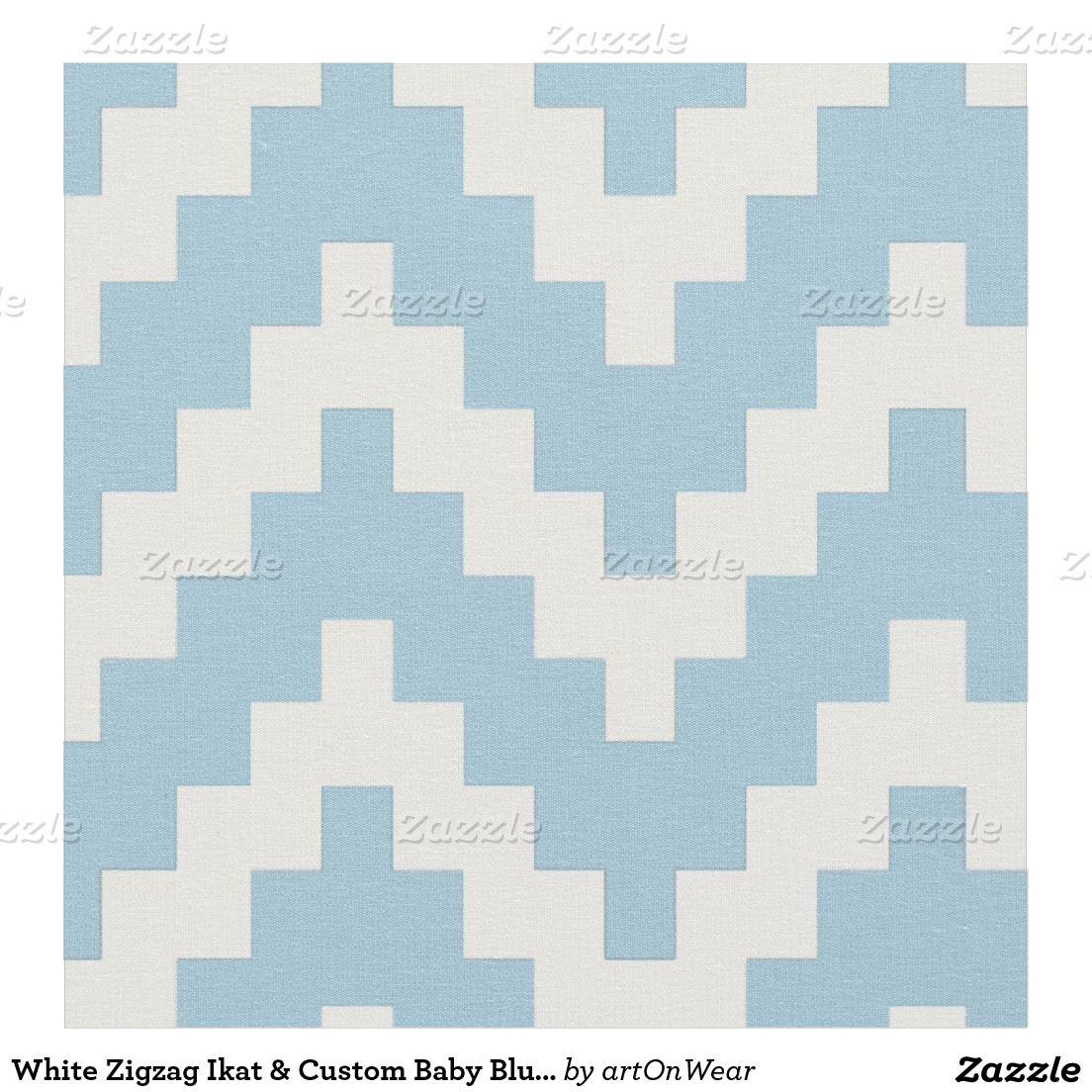 White Zigzag Ikat & Custom Baby Blue Background Fabric | Baby ...