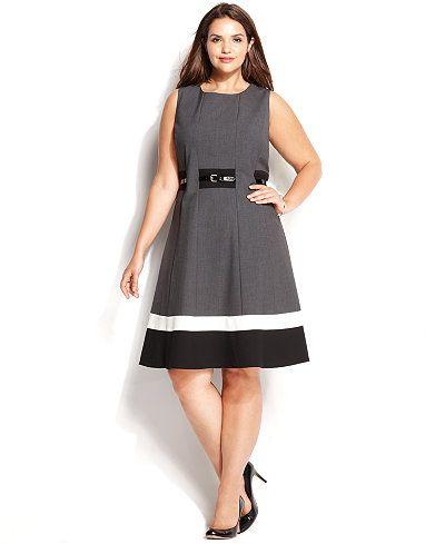 calvin klein plus size colorblock belted dress - dresses - women