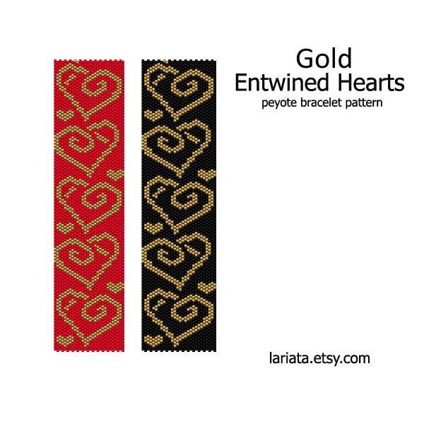 Gold Entwined Hearts Peyote Bracelet Pattern INSTANT by lariata