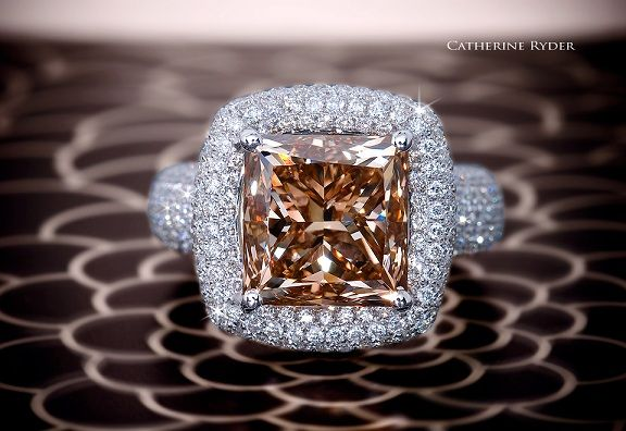 Natural Fancy Yellow-Brown Radiant Cut Diamond in custom diamond setting, Ascot Diamonds (J5218)