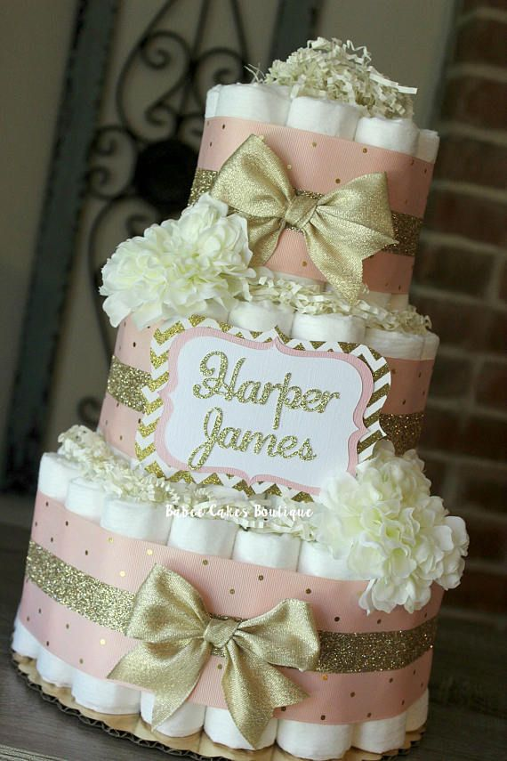 3 Tier Blush Pink and Champagne