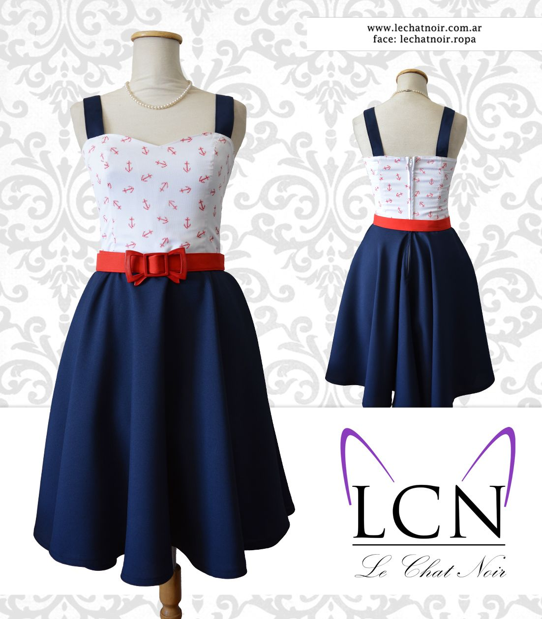 Vestido Pin Up, top blanco con anclas rojas y falda plato azul  #vestidopinup #estilopinup #vintage #retro #vintagestyle #rockabilly #anchor #pinup #pinupstyle #pinupfashion #retrofashion #pinupgirl #fashion #dress #navy #navystyle #sailorlook