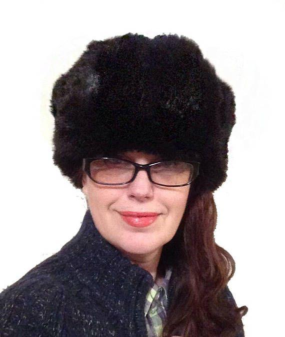 c859fb452 Russian black hat Ushanka, natural bunny fur, Soviet winter rabbit ...