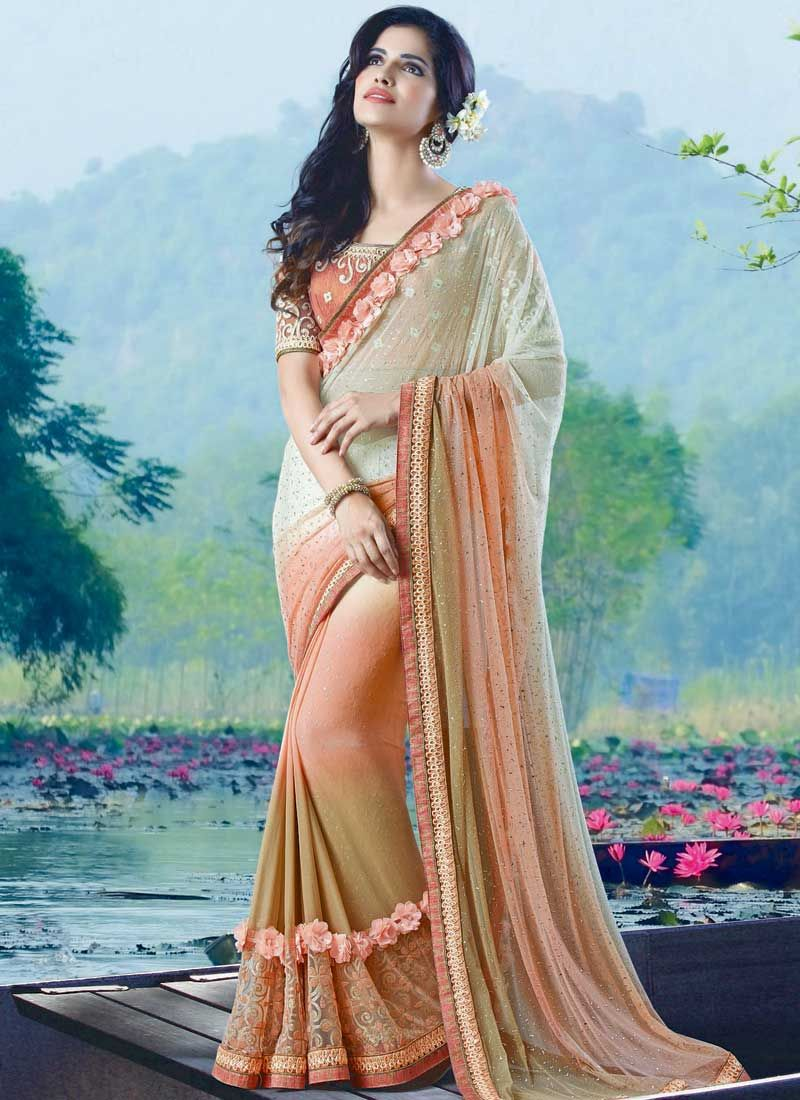 Golden saree blouse design cream beige peach embroidery work d flower chiffon net designer