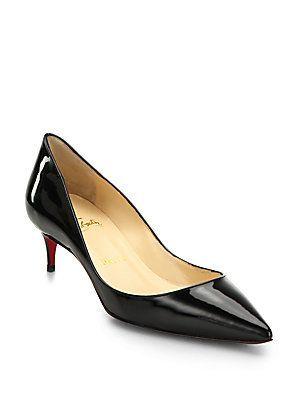 Christian Louboutin Patent Leather Kitten Heel Pumps Saks Fashion Heels Manolo Blahnik Heels Kitten Heel Pumps