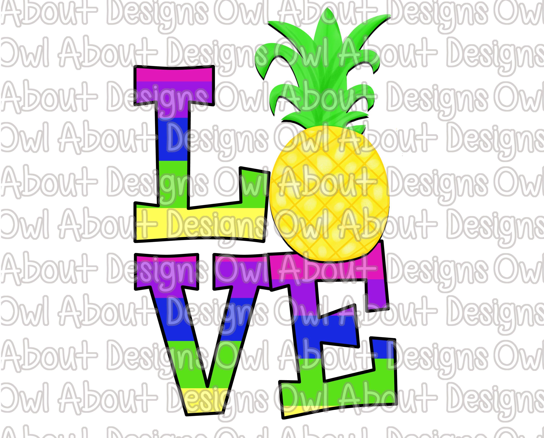 Love Pineapple Digital Download. Rainbow. Colorful ...