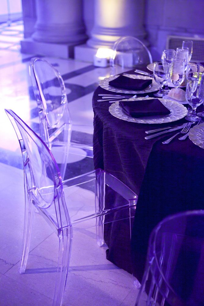 Clear Ghost Chairs With Purple Uplighting Vision Furniture Philadelphia  Event Rentals Http://www
