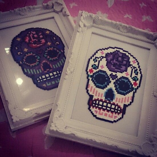 Day of dead Skull hama perler bead art design www.facebook.com/bowpeepgifts