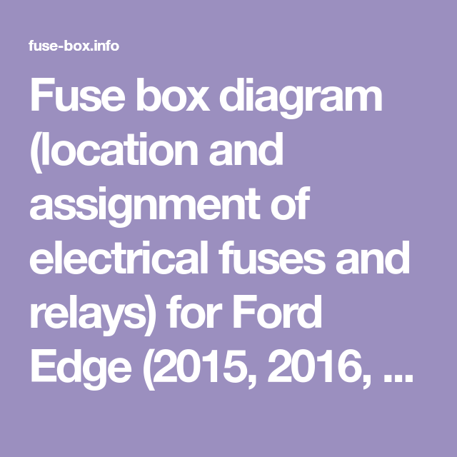 Fuse Box Diagram Location And Assignment Of Electrical Fuses And Relays For Ford Edge 2015 2016 2017 2018 2019 In 2020 Fuse Box Ford Edge Fuse Panel