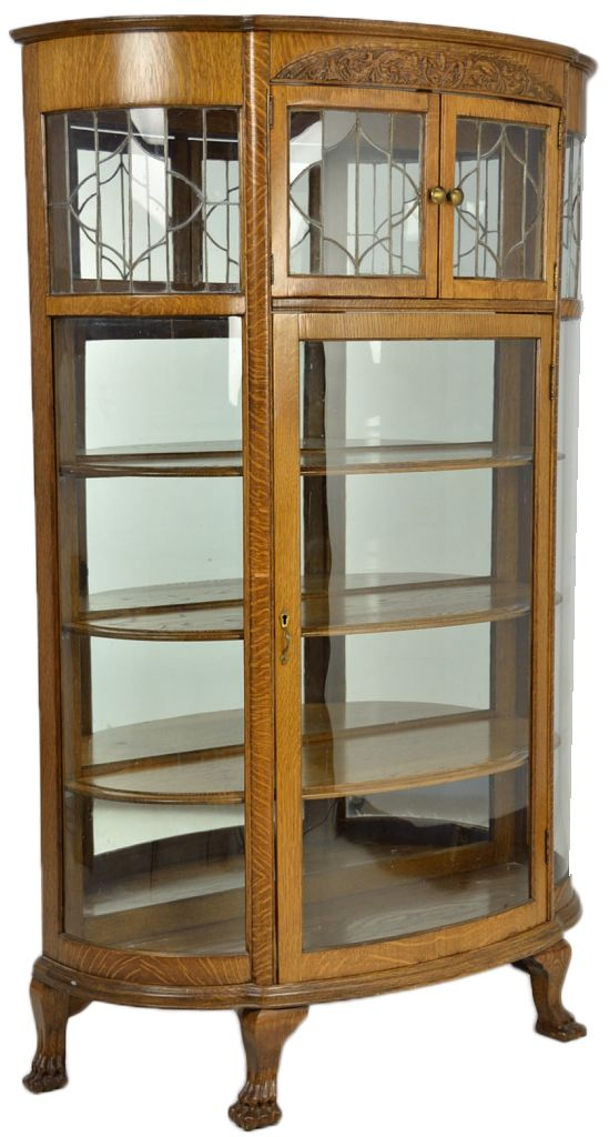 ANTIQUE OAK CHINA CABINET WITH LEADED GLASS AND BENT GLASS