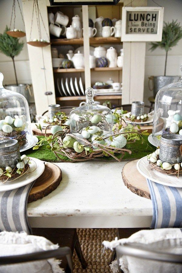 Springy Moss Egg Easter Table Easter Table Decorations Easter Table Rustic Easter Decor