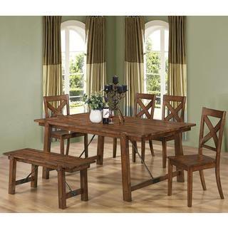 Vintage Dark Oak Wood Plank Dining Set   Overstock Shopping   Big Discounts  On Dining Sets