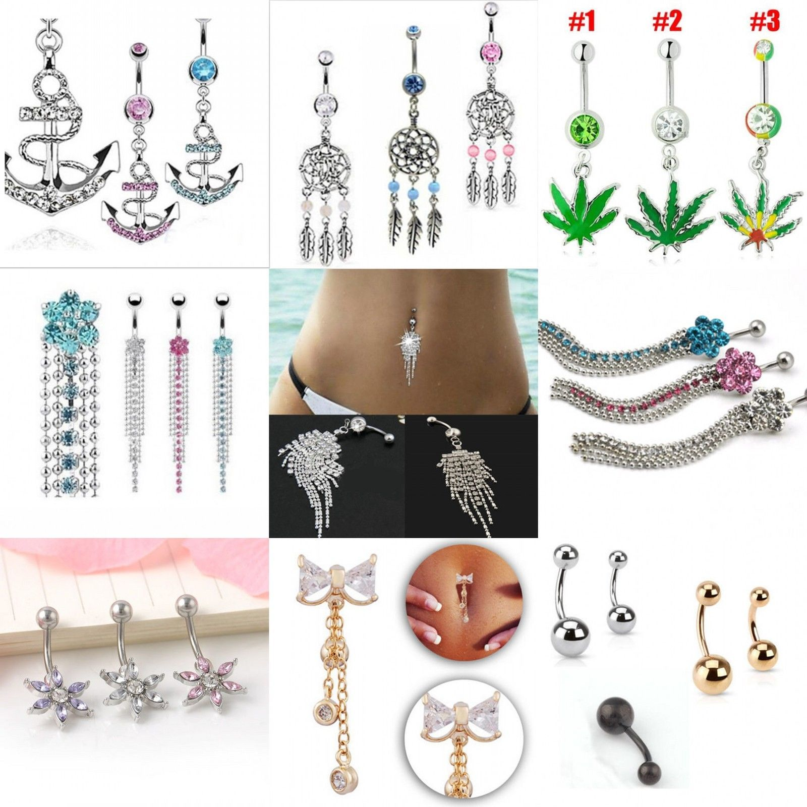 Fake belly piercing   AUD  Ol Belly Button Dangle Ring Crystal Jewelry Barbell Navel