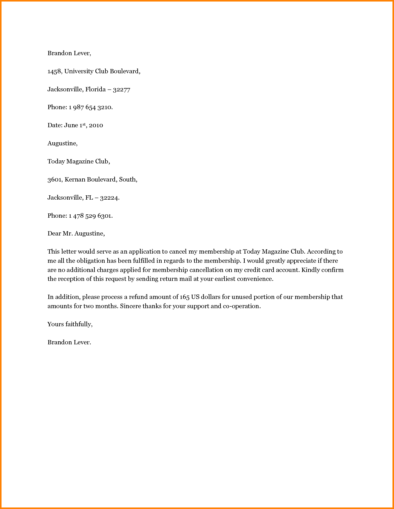 Services Cancellation Letter Sample For Business Termination Free