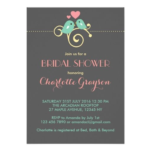 Grey Blue Pink Lovebirds Bridal Shower Invitation