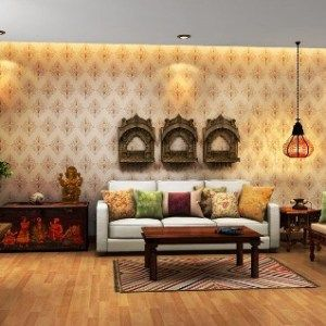 modern indian living room with ethic furniture and