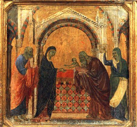 Duccio (di Buoninsegna) - Maesta, Darbringung im Tempel