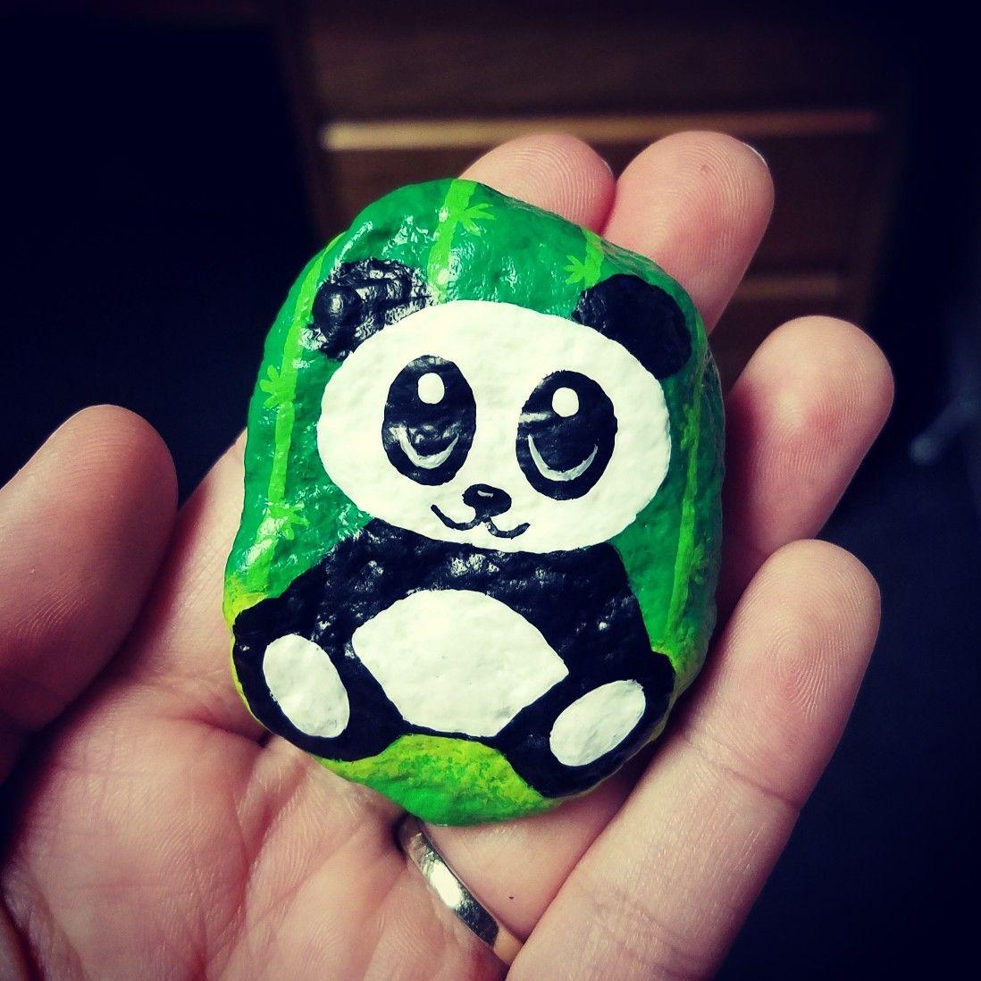 Painted rock / rock painting / rock art / painted stones / panda / cute