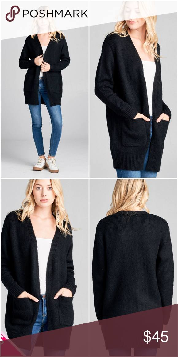 Black Plus Size Pocket Tunic Sweater Cardigan Ladies fashion plus size long  sleeve open front w pocket tunic sweater cardigan 1XL.2XL.3XL 68% Acrylic  28% ... cd84ac523