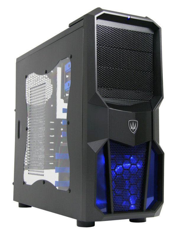 Cit Neptune Gaming Case 12cm Blue Led Fan Side Window Blue Screwless Bays Ebuyer Com Neptune Case Led