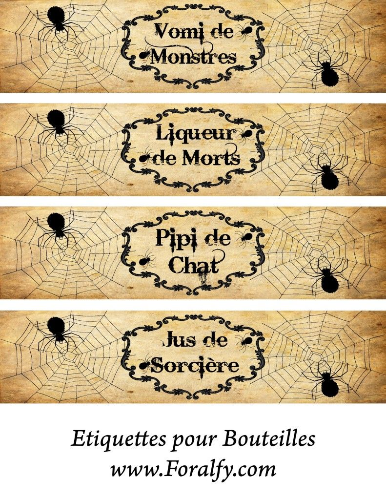 etiquettes pour bouteilles halloween deco halloween bouteille pinterest bouteilles. Black Bedroom Furniture Sets. Home Design Ideas