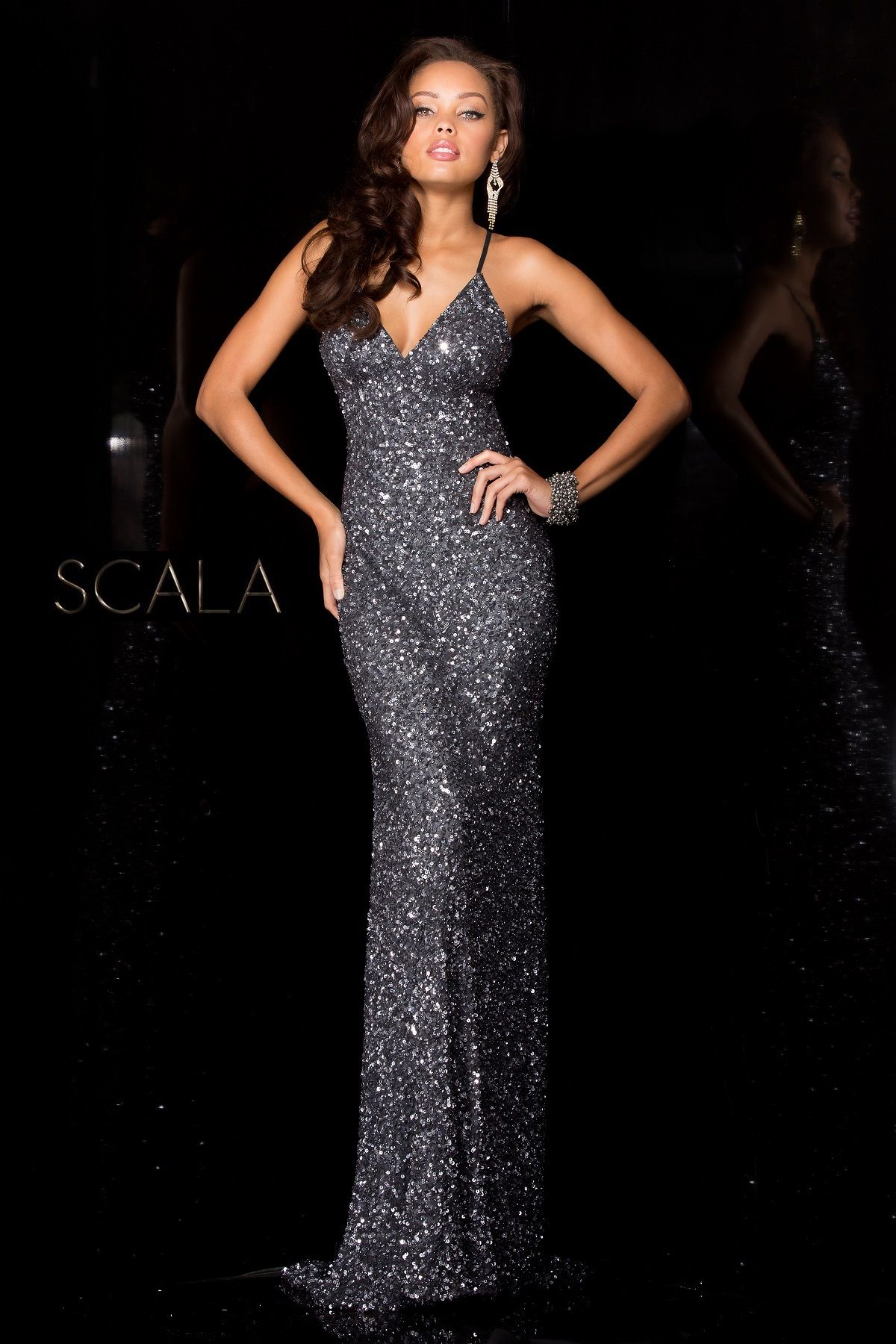 SCALA Fall 2016 style 47551 Charcoal. #scalausa #sequins #gown ...