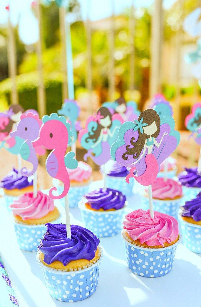 Mermaid Birthday Cupcake Toppers Under The Sea Birthday Little