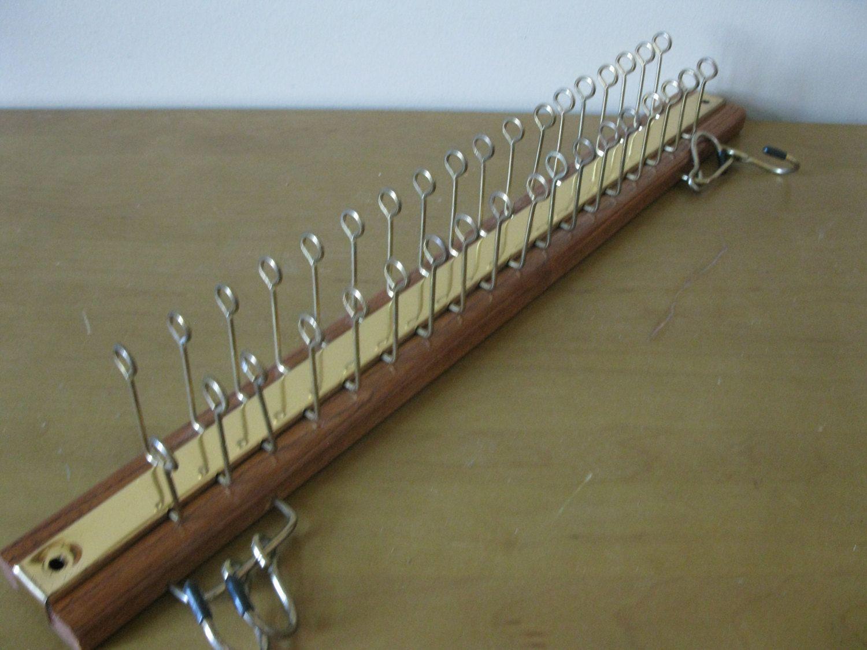 X LARGE Tie Rack Wood solid Oak metal swivel tie rack Scarf