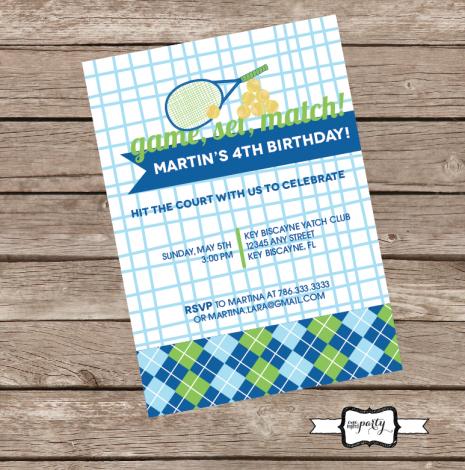 Tennis Birthday Party Invitation - Invite