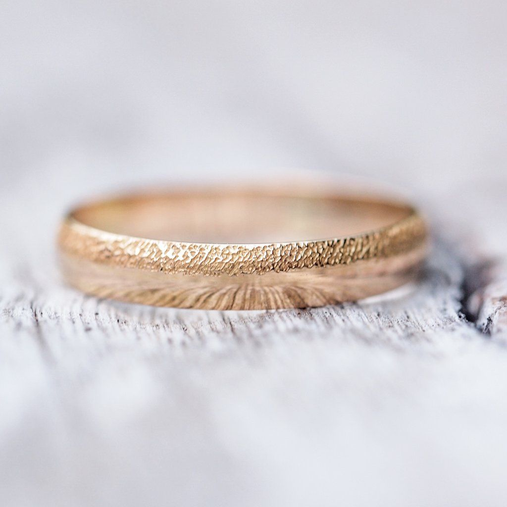 Wabi Sabi Organic Wedding Band For Him In Gold