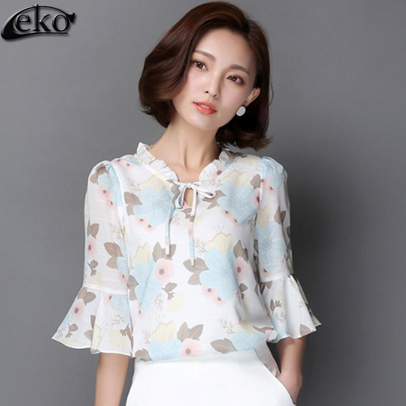 2bcdfa50d1b Korean Elegant bow blouses womens blouse 2016 Floral Print Chiffon shirt  loose lotus leaf short sleeved shirt female summer tops Price  PKR  1566.0876