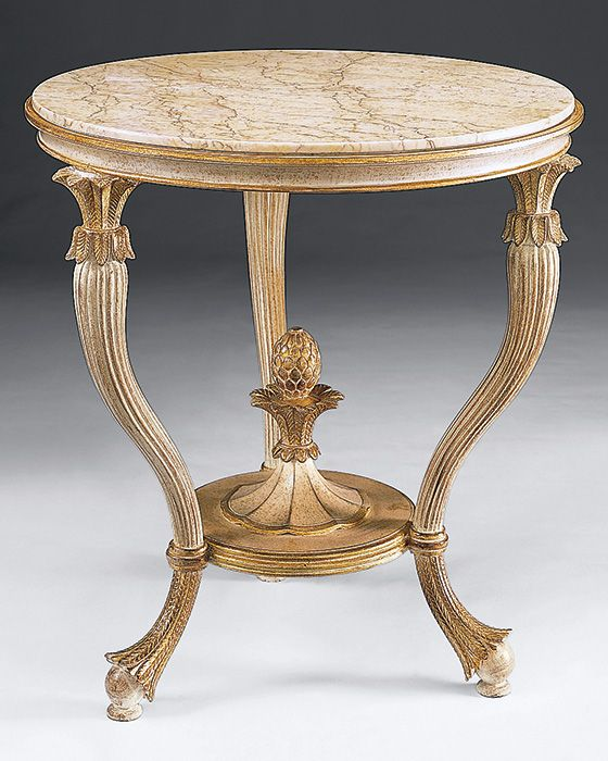 Neoclassic carved wood table with Valencia marble top Furniture