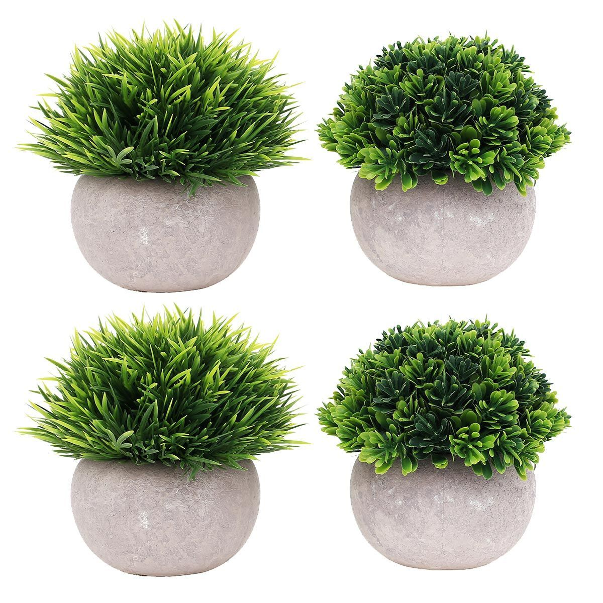 4 packs small artificial plants in pot mini faked potted