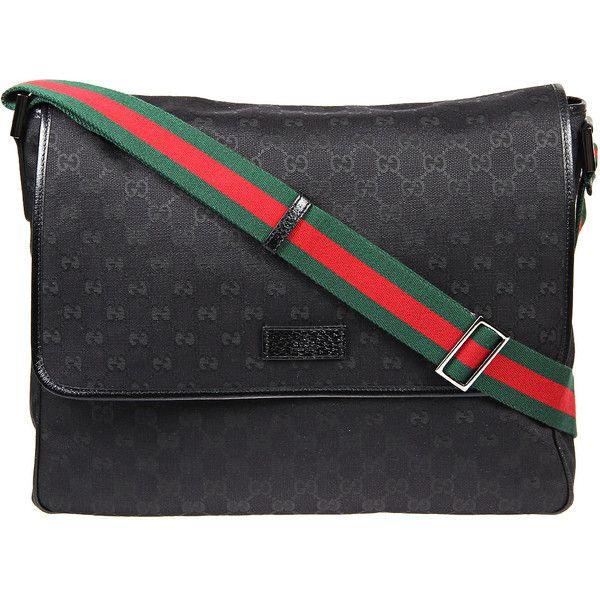 e4042242dd3e Gucci Black Original GG Fabric Large Flap Messenger Bag ( 650) ❤ liked on  Polyvore featuring men s fashion