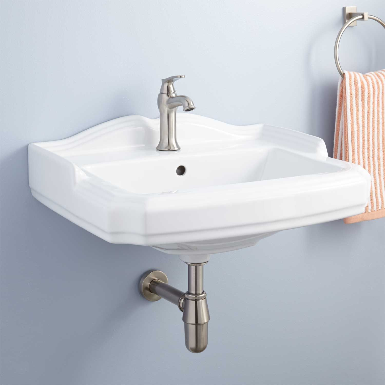 Halden Porcelain Wall Mount Bathroom Sink Wall Mounted Bathroom
