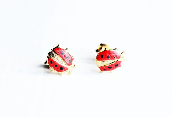 Red Ladybug Studs by diamentdesigns on Etsy