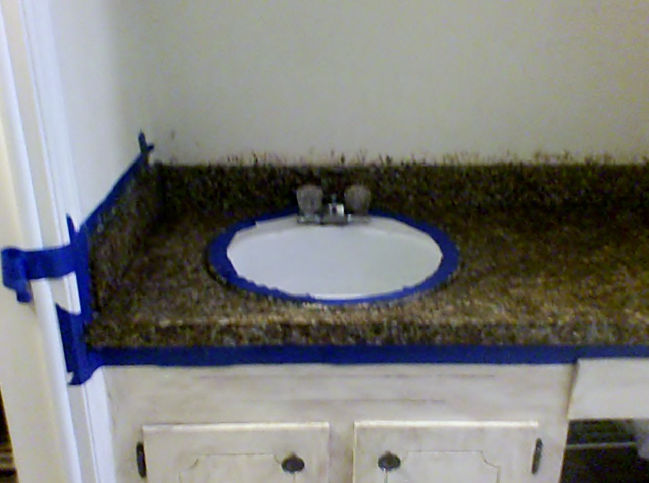 Masterbath Makeover In Process Sponge Painting Old